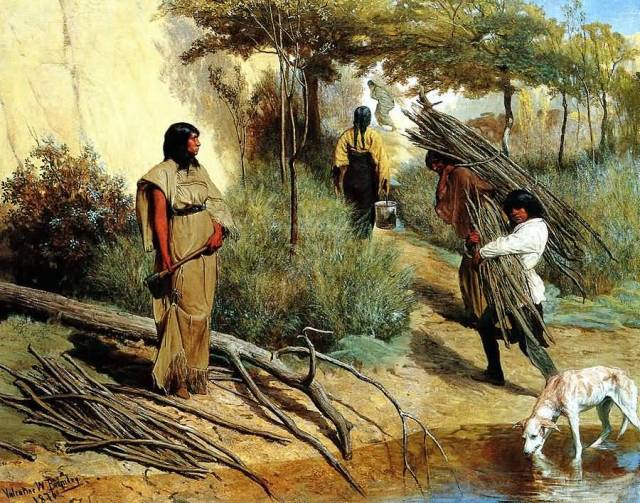 Crow-Indian-Women-Gathering-Wood